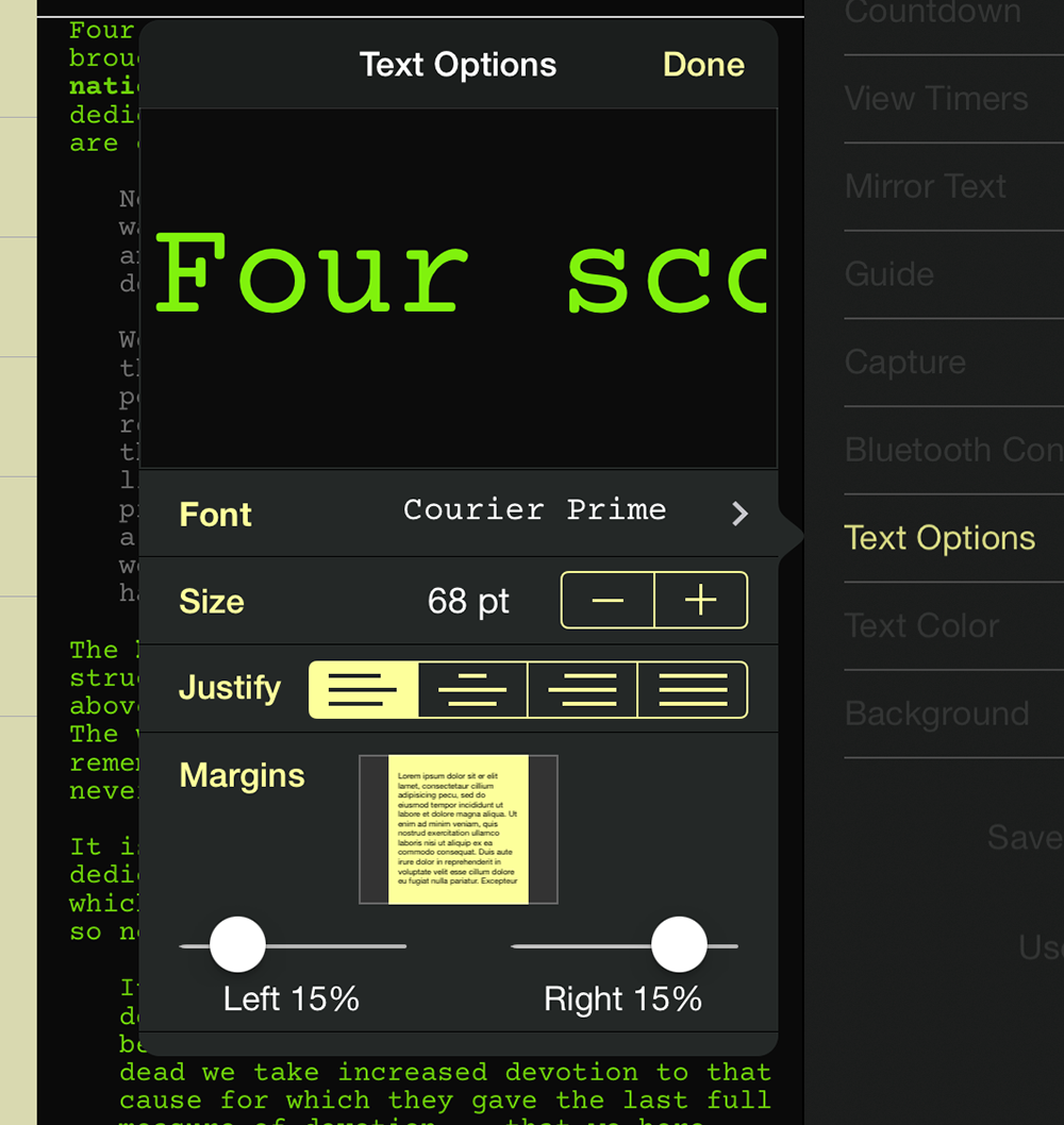 teleprompt+ text options panel