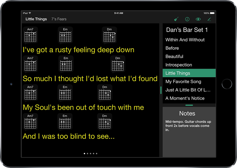 Setlists on iPad